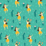 Seamless vector hawaii pattern. Summer background with dancing girls and flowering cactuses. Stock Photography