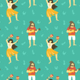 Seamless vector hawaii pattern. Summer background with dancing girls and men playing ukulele. Stock Photo