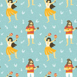 Seamless vector hawaii pattern. Summer background with dancing girls and men playing ukulele. Royalty Free Stock Images