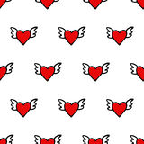 Seamless vector heart pattern for Valentines Day. Cute hearts with wings. Royalty Free Stock Photos