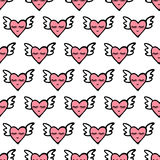 Seamless vector heart pattern for Valentines Day. Cute hearts with wings, smile and eyes. Royalty Free Stock Photo