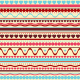 Seamless vector hearts and dots texture pattern Stock Images