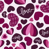 Seamless Vector Hearts Pattern with purple shades of colors which can be used for your projects. Seamless Vector Hearts Pattern with purple shades of colors Stock Image