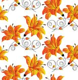 Seamless vector hibiscus floral background Royalty Free Stock Photo