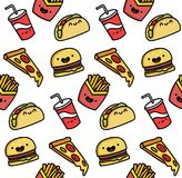 Seamless vector illustration of a funny cartoon fast food. The pattern is cute food. Stock Image