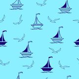 Sailing boats and seagulls seamless pattern, textile, surface design. Seamless vector illustration pattern for fabric, clothes/accessories, background, textile royalty free illustration