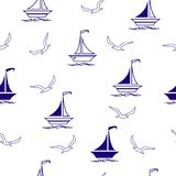 Sailing boats and seagulls seamless pattern. Seamless vector illustration pattern for fabric, clothes/accessories, background, textile, wrapping paper and other royalty free illustration