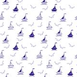 Sailing boats and seagulls. Seamless vector illustration pattern for fabric, clothes/accessories, background, textile, wrapping paper and other decoration vector illustration