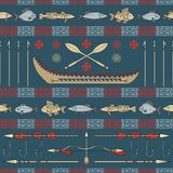 Indian fishing - seamless pattern Royalty Free Stock Image