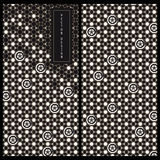 Seamless vector japanese black and white package card template with traditional japanese patterns Stock Photos