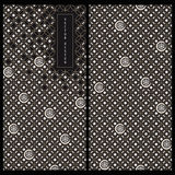 Seamless vector japanese black and white package card template with traditional japanese patterns. With place for text Royalty Free Stock Photos
