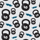 Seamless vector kettlebell pattern Royalty Free Stock Photography