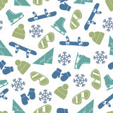 Seamless vector line pattern with winter elements Royalty Free Stock Photography