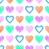 Seamless vector love pattern with hearts. Endless background with different hand drawn colorful figures Stock Image