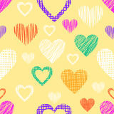 Seamless vector love pattern with hearts. Endless background with different hand drawn colorful figures Stock Photo