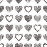 Seamless vector love pattern with hearts. Endless background with different hand drawn gray figures Royalty Free Stock Photo