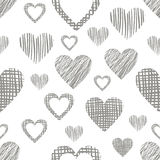 Seamless vector love pattern with hearts. Endless background with different hand drawn gray figures Royalty Free Stock Photos