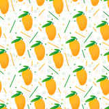 Seamless vector mangoes pattern. Seamless vector pattern design with yellow mangoes and leaves Stock Photo