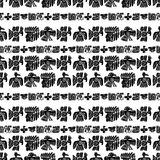 Seamless vector maya pattern. Black and white ethnic elements. Tribal doodles ornament. Abstract ancient symbols birds Stock Images