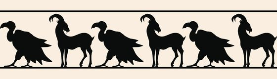 Seamless vector ornament. Seamless vector ornament with a goat and a vulture for a frame royalty free illustration