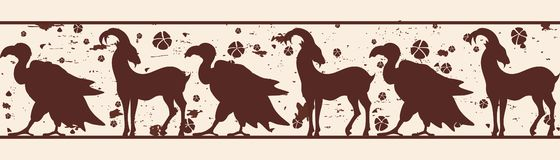 Seamless vector ornament. Seamless vector ornament with a goat and a vulture for a frame in ancient style with the effect of aging royalty free illustration