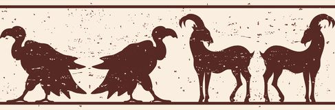 Seamless vector ornament. Seamless vector ornament with a goat and a vulture for a frame in ancient style with the effect of aging vector illustration