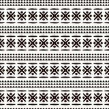 Seamless vector ornamental pattern. Hand drawn black and white geometric background Stock Photos