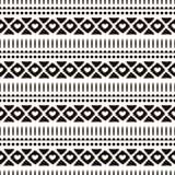 Seamless vector ornamental pattern. Hand drawn black and white geometric background with traditional ethnic motifs Inc painting Stock Image