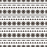 Seamless vector ornamental pattern. Hand drawn black and white geometric background with traditional ethnic motifs Royalty Free Stock Photo