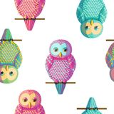 Seamless vector owl pattern. Seamless vector pattern with magenta cyan yellow owls. Repetitive background with vector birds turquoise, pink, golden yellow colors Stock Image