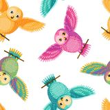 Seamless vector owl pattern. Seamless vector pattern with magenta cyan yellow owls. Repetitive background with vector birds turquoise, pink, golden yellow colors Stock Photo