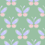 Seamless vector pastel pattern with insects, symmetrical background with blue and pink butterflies. On the green backdrop. Decorative ornament. Series of Stock Photos