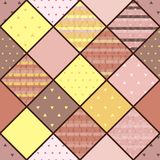 Seamless vector patchwork pattern in coffee and lemon colors. Royalty Free Stock Images