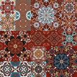Seamless vector  patchwork tile with Victorian motives in colorful Stock Images