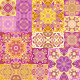 Seamless vector  patchwork tile with Victorian motives  Stock Photo