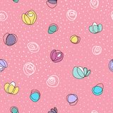 Seamless vector pattern with abstract colorful flowers and white dots. On pink background vector illustration