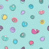 Seamless vector pattern with abstract colorful flowers and white dots. On green background vector illustration
