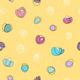 Seamless vector pattern with abstract colorful flowers and white dots. On yellow background Stock Image