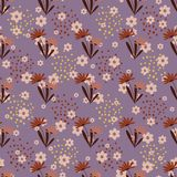Seamless pattern with flowers and polka dots stock illustration