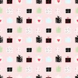 Seamless vector pattern with adorable doodle gift boxes on pink royalty free illustration