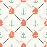 Seamless vector pattern of anchor, sailboat shape Stock Photos