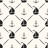 Seamless vector pattern of anchor, sailboat shape Stock Photography