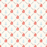 Seamless vector pattern of anchor, sailboat shape Royalty Free Stock Images
