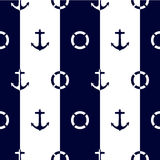 Seamless vector pattern with anchors and lifebuoys Stock Photo