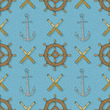 Seamless Vector Pattern with Anchors,Retro Ship Steering Wheels and Spyglasses Stock Image