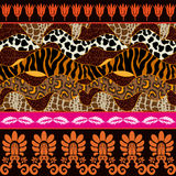 Seamless vector pattern with animal prints and ancient geometrical ornaments. Royalty Free Stock Photo
