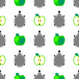 Seamless vector pattern with animals, colorful background with hedgehogs and green apples, over light backdrop Stock Photo