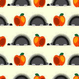 Seamless vector pattern with animals, colorful background with hedgehogs and red apples, over light backdrop Stock Photos