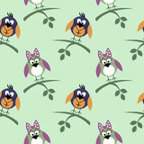 Seamless vector pattern with animals, cute background with birds and branch with leaves Royalty Free Stock Photography