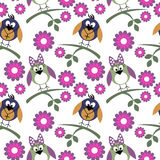 Seamless vector pattern with animals, cute background with birds, flowers and branch with leaves. Stock Photos